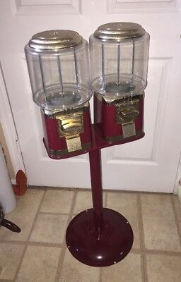 "Double Vending Machine with Metal Stand Burgundy With Gold Trim 40""Tall"