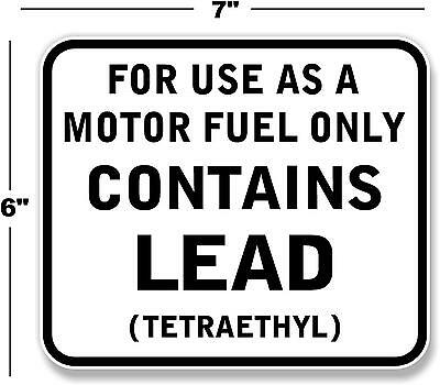 """7"""" Contains Lead Gas Pump Decal Station Gasoline Pump Lubster Texaco Mobil"""