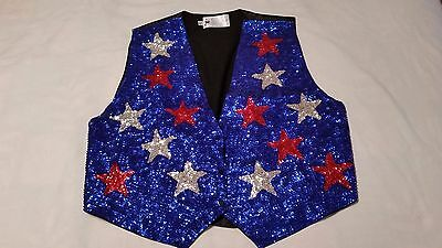 JC Sequin Vest - Blue w/ Red & White Stars - Patriotic - 4th of July - Halloween