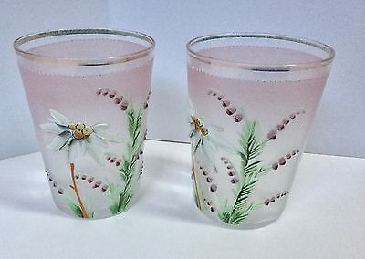 2 Pink Floral Enamel Painted Drinking Glass Flowers Hand Painted Vintage