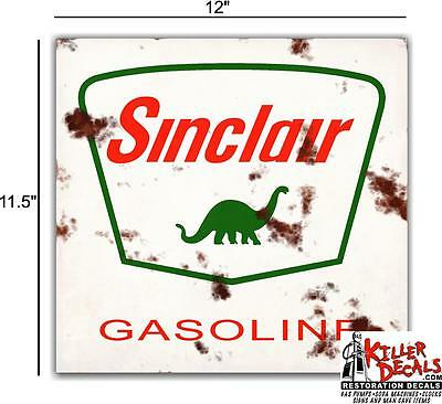 """12"""" Rusty White Square Sinclair Gasoline Decals Gas And Oil Decal Panel"""
