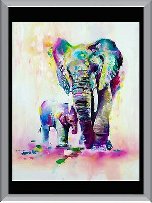 Watercolour Elephant and Calf  A1 To A4 Size Poster Prints