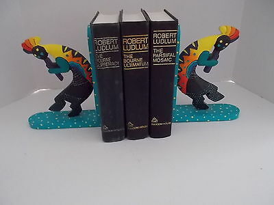 """Wooden Bookends Tribal Turquoise W/ Yellow Dots Hand Painted 7 Long X 9"""" Tall"""