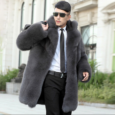 Mens Gray Real Fox Fur Luxury Winter Outwear Parka Loose Lapel 6XL Coats Single