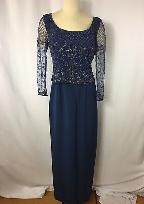 Mother of the Bride Dress Size 12P Montage Collection Blue Beaded Long Sleeve