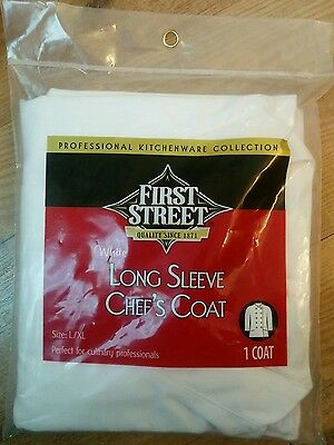 2 White L/S Chefs Coats for culinary professionals size L/XL new in packaging