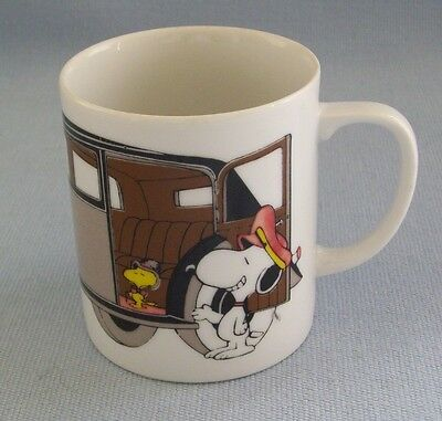 Peanuts Vintage Coffee Cup Mug Woodstock Snoopy With Limo Chauffeur Driver EUC