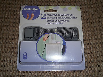 2 FURNITURE SECURING NYLON STRAPS WITH INSTRUCTIONS NEW IN PACK from BABIES R US