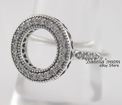 e10741637 Authentic HEARTS OF PANDORA HALO Silver CIRCLE Ring 7 (54) 191039CZ NEW w  POUCH