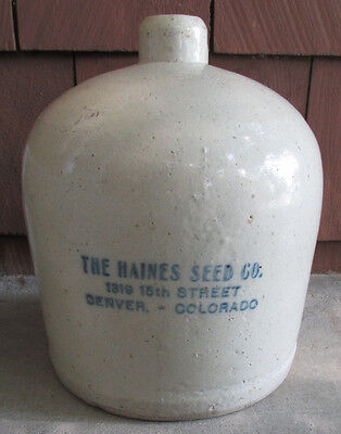 RARE Antique Advertising STONEWARE CHICKEN Waterer HAINES SEED CO Denver CO
