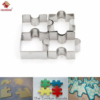 Stainless Steel Jigsaw Pieces Cookie Cutter Set 4pcs Baking Puzzle Shaped Mold