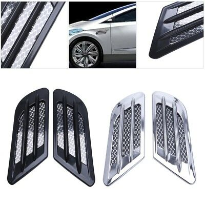 1pair Sticker Car Side Air Flow Vent Fender Hole Cover Intake Grille Duct Decor