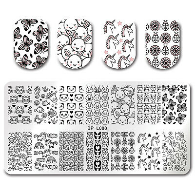 Nail Art Stamping Plate Aliens Panda Rectangle Image Plate Born Pretty Manicure