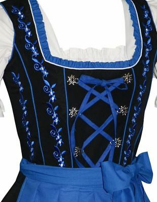 BLUE German DIRNDL Dress Oktoberfest Trachten Waitress SEE BACK SIDE~EMBROIDERY