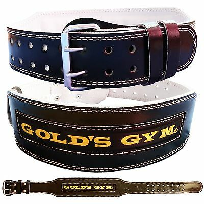 "Gold's Gym Leather Weight Lifting Belt 4"" Double prong Lumbar Padded"