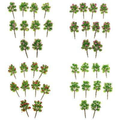 40x Plastic 1/200 Model Trees Z Gauge w/ Flower Layout Wargame Scene Diorama