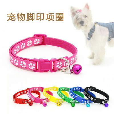 Lovely Small Footprint Pet Collar With Bell Nylon Fabric Cat Dog Puppy New