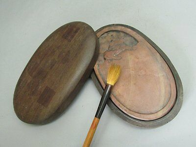 Chinese Red Silk Stone Carved kylin Ink Slab / inkStone & Rosewood Case