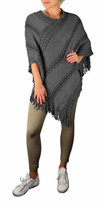 Peach Couture Retro Style Thick Knit Cozy Winter Poncho Sweater with Fringes Gre