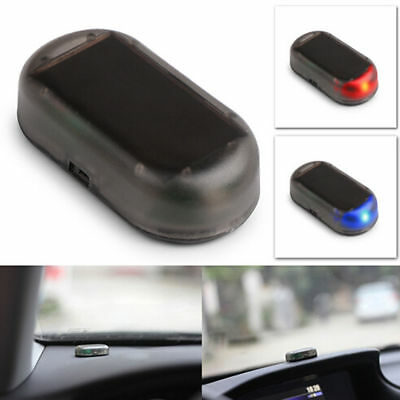1pc Car Solar Power Dummy Alarm Red/Blue LED Car Anti-theft Warning Light Lamp~