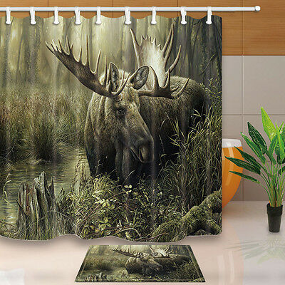 . MOOSE AND FOREST Fabric shower curtain set Animal Bathroom Decor 71inch Long