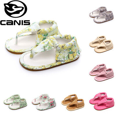 Newborn Baby Girls Boys Printed Infants Summer Sandals Crib Sole Shoes Prewalker