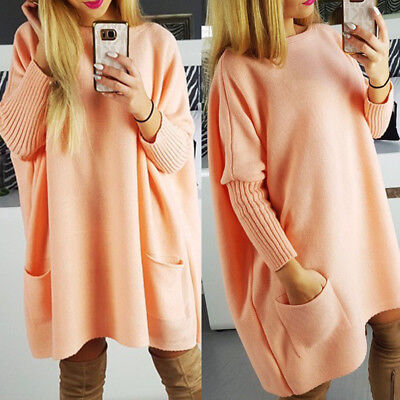 Vintage Women Batwing Sleeve Knitted Sweater Casual Loose Long Tops Jumper Dress