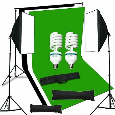 Studio Kit d'éclairage Continu Softbox Lumière+Fonds+Support Trépied+Ampoule