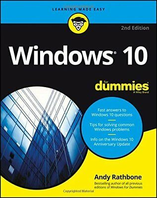 Windows 10 for Dummies 2nd Edition For Dumm by Andy Rathbone New Paperback Book