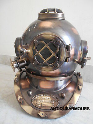 US NAVY MARK V Collectible Black Finish Divers Helmet Beautiful gift for Lovers