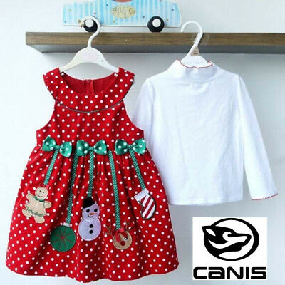 Girl Kids 2pcs Christmas Outfit Solid Tops+Sleeve Polka-Dot Dress Sets 2-7Y