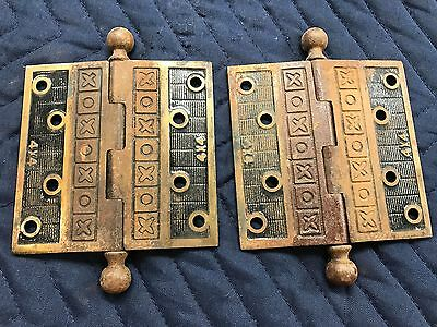 Pair of Antique Victorian Eastlake Cast Iron 4x4 Door Hinge - STUNNING
