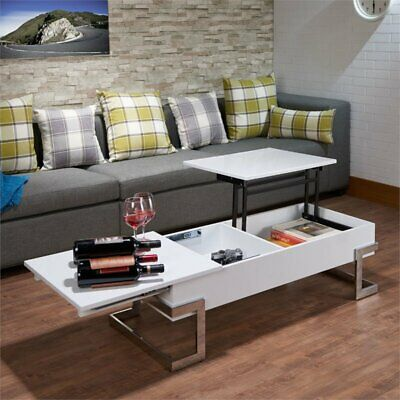 ACME Calnan Lift Top Coffee Table in White and Chrome