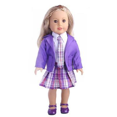 Purple 4pcs Doll Clothing Plaid Dress Outfit for 18'' American Girl Dolls