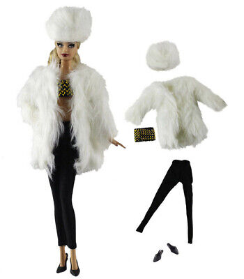 5in1 Set White Fur Coat+Vest+PU leather pants+Shoes+Hat for 11.5in.Doll
