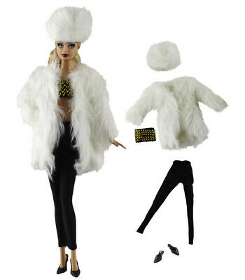 5in1 Set White Fur Coat+Vest+PU leather pants+Shoes+Hat for Barbie Doll
