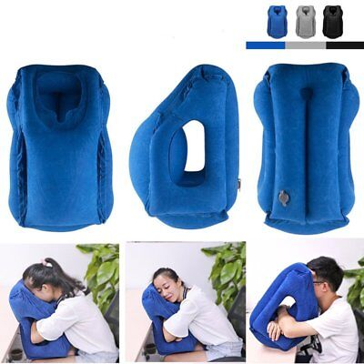Inflatable Air Cushion Travel Pillow Head Neck Sleep Support Camping Flight UK