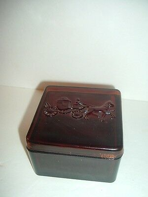 Vintage Dobbs Hats Advertising Glass Box with Stagecoach Lid