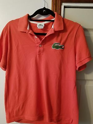 Lacoste short sleeve coral 100 cotton polo shirt size 6 for Lacoste shirts with big alligator