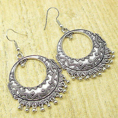 "925 Silver Plated Over Solid Copper TRIBAL Earrings 2 3/8 "" OLD STYLE"