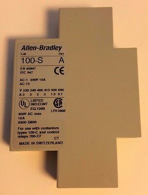 (5) Allen Bradley 100-SA01 Auxiliary Contacts Side Mount