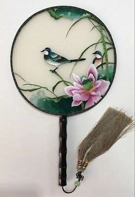 Chinese Traditional Silk Lotus 3D Lifelike Birds Needwork Embroidery Hand Fan