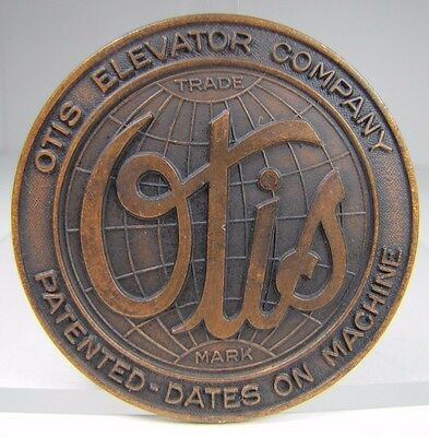 Old Bronze OTIS ELEVATOR Co Sign Architectural Equipment Nameplate Patented Date