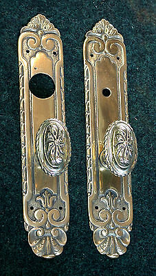 """Vintage Antique Front Door Hardware Set Polished Brass No Lacquer 12"""" Tall"""