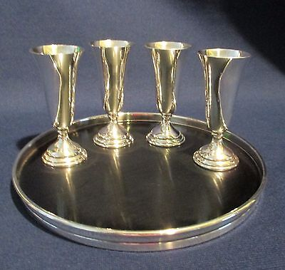 Set of 4 Vintage Sterling Silver B&M Cordials w/ Gorham Sterling & Lucite Tray