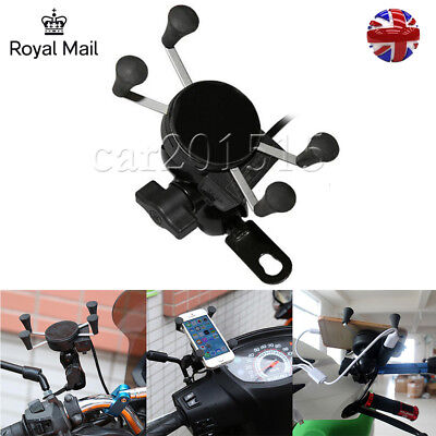Universal X-Grip Motorcycle Bike Car MTB Cell Phone GPS Mount Holder USB Charger