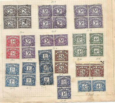 SELECTION OF GB POSTAGE DUES TO 2/6d in multiples on album page see scan