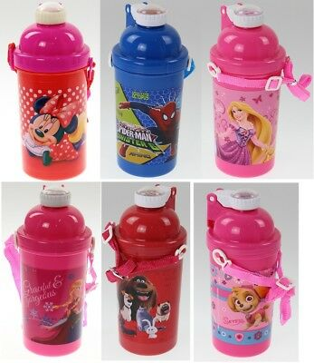 Kids Boys Girls Pop Up Juice Drink Water Drinking Travel Bottle With Strip New