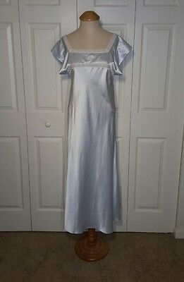 """Vintage Christian Dior Pale Icy Blue Lace Satin Nightgown 35"""" bust"""