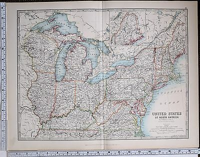 1904 Large Map United States North East Ohio Kentucky New York Maine Michigan